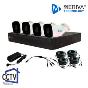 Kit CCTV Meriva 4 Canales 4 Cámaras MKIT926 - Cámaras CCTV